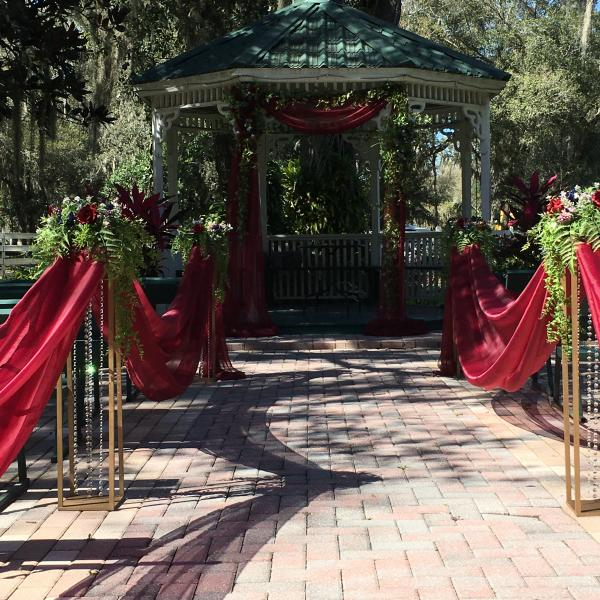 Beauty and the Beast themed decor at the gazebo.